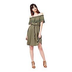 Miss Selfridge - Khaki frill bardot dress