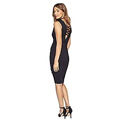 Miss Selfridge - Black lace up back dress