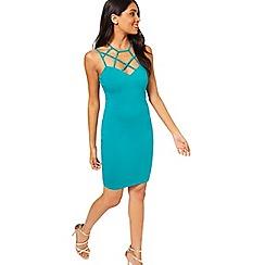Miss Selfridge - Green caged neck dress