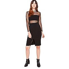 Miss Selfridge - Spot mesh insert dress