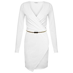Miss Selfridge - White asymmetric wrap dress
