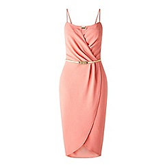 Miss Selfridge - Coral wrap pencil dress