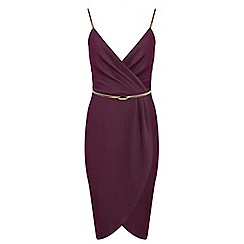 Miss Selfridge - Burgundy wrap pencil dress