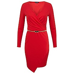Miss Selfridge - Red asymmetric wrap dress