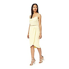 Miss Selfridge - Lemon cowl neck wrap dress