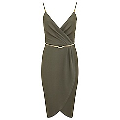 Miss Selfridge - Khaki wrap pencil dress
