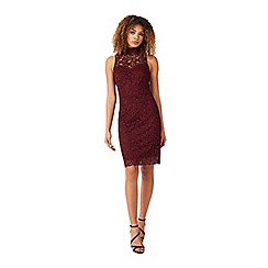 Miss Selfridge - Burgundy lace pencil dress