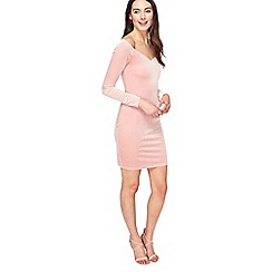 Miss Selfridge - Pink velvet sweetheart dress