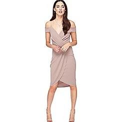 Miss Selfridge - Grey wrap cold shoulder dress