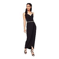 Miss Selfridge - Black wrap front maxi dress