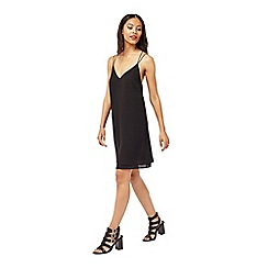 Miss Selfridge - Black strappy slip cami dress