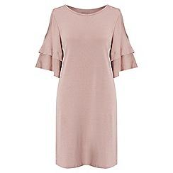 Miss Selfridge - Cold shoulder jersey ruffle dress
