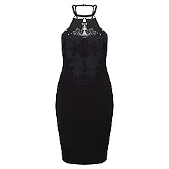 Miss Selfridge - Black applique bodycon dress