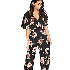 Miss Selfridge - Black floral frill jumpsuit