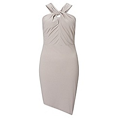 Miss Selfridge - Grey slinky twist neck dress
