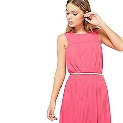 Miss Selfridge - Pink belted plisse dress