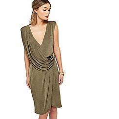 Miss Selfridge - Khaki belted drape dress