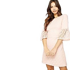 Miss Selfridge - Pink lace flute sleeve dress