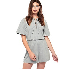 Miss Selfridge - Grey lace up eyelet playsuit