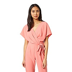 Miss Selfridge - Coral crepe wrap jumpsuit