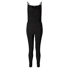 Miss Selfridge - Black slinky rib jumpsuit