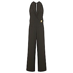 Miss Selfridge - Khaki collar wrap jumpsuit