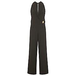Miss Selfridge - Khaki collar wrap jumpsuit
