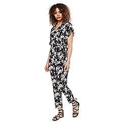 Miss Selfridge - Mono floral wrap jumpsuit
