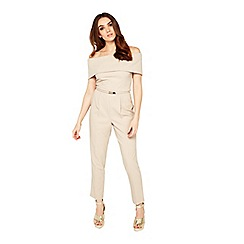 Miss Selfridge - Mink deep bardot belt jumpsuit