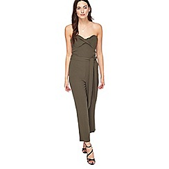 Miss Selfridge - Khaki bandeau jumpsuit