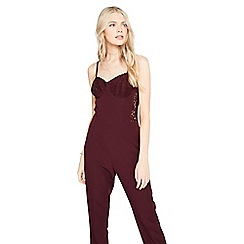 Miss Selfridge - Burgandy lace corset jumpsuit