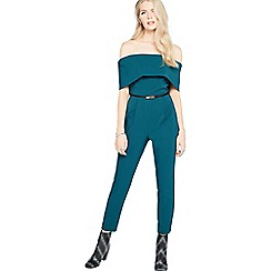 Miss Selfridge - Teal deep bardot jumpsuit