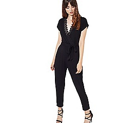 Miss Selfridge - Black lace trim jumpsuit
