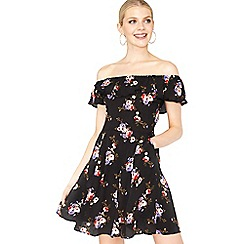Miss Selfridge - Black floral bardot dress