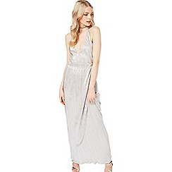 Miss Selfridge - Silver plisse maxi dress