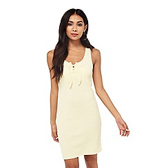Miss Selfridge - Yellow rib lace up dress