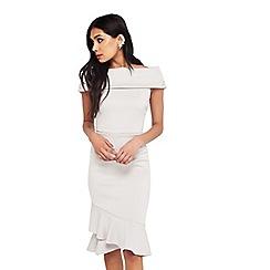 Miss Selfridge - Silver asymmetric hem dress