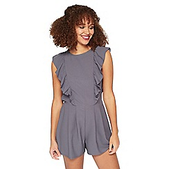 Miss Selfridge - Silver pewter ruffle playsuit