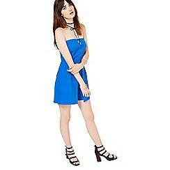 Miss Selfridge - Blue bandeau playsuit