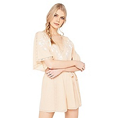 Miss Selfridge - Peach embroidered playsuit