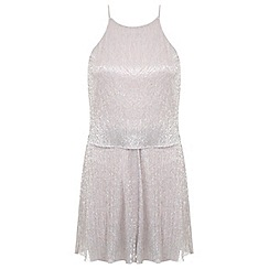 Miss Selfridge - Nude pleated playsuit