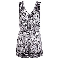 Miss Selfridge - Printed crochet back playsuit