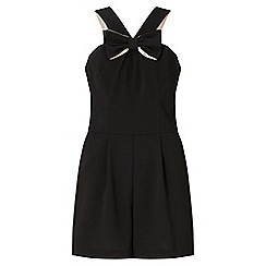 Miss Selfridge - Black bow front playsuit