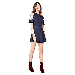 Miss Selfridge - Navy ruffle playsuit