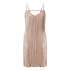 Miss Selfridge - Gold shimmer plisse slip dress