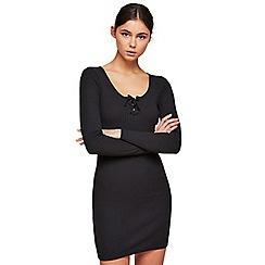 Miss Selfridge - Long sleeves rib lace up dress