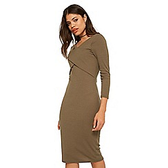 Miss Selfridge - Khaki ribbed cross front dress
