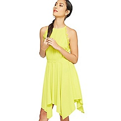 Miss Selfridge - Chartreuse 90's neck trim dress