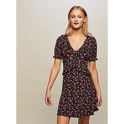 Miss Selfridge - Black floral frill tea dress