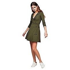 Miss Selfridge - Khaki jersey wrap dress